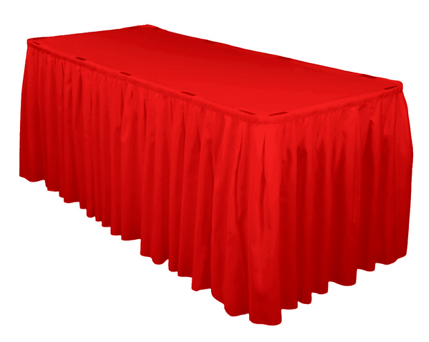 Red Table Skirting (3m) + BONUS Skirting Clips