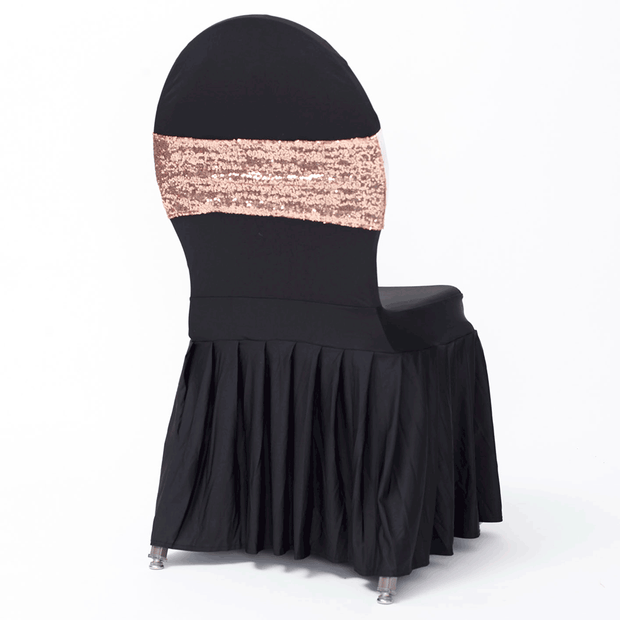 Sequin Lycra Chair Bands - Rose Gold