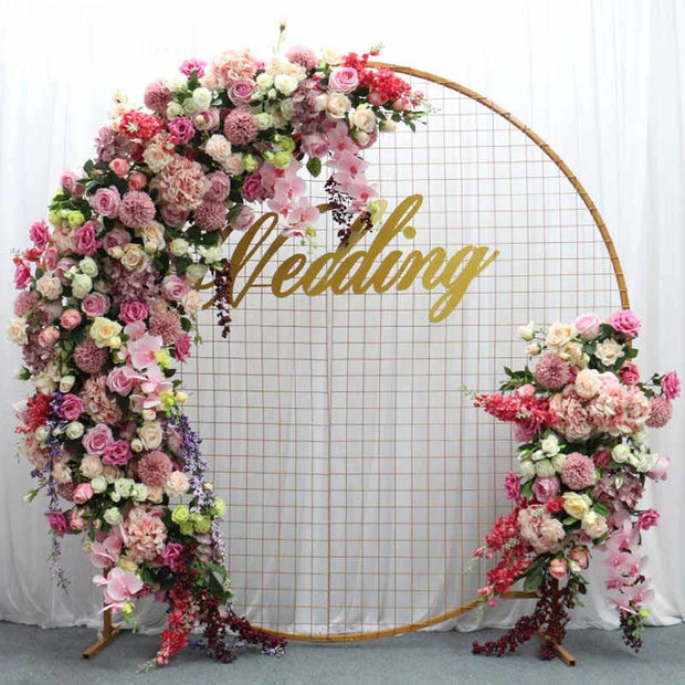 Round Wedding Flower Mesh Frame - Gold (2m) With Decorations