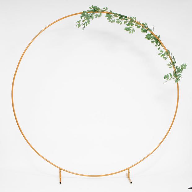 Round Wedding Arch / Flower Frame - Gold (2m) With Decoration