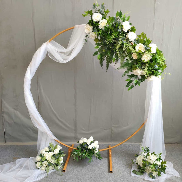 Round Wedding Arch / Flower Frame - Gold (1m) With decoration