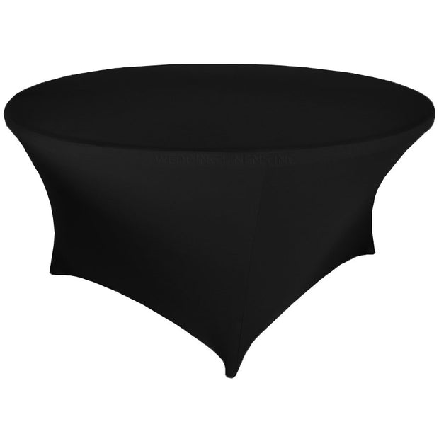 Black Round Lycra Fitted Tablecloth (6ft)