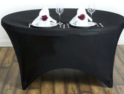 Black Round Lycra Fitted Tablecloth (6ft) In Setting