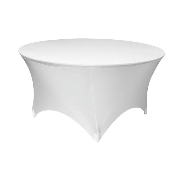 White Round Lycra Fitted Tablecloth (6ft)
