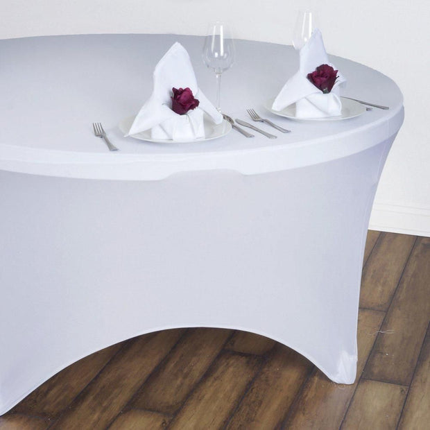 White Round Lycra Fitted Tablecloth (6ft) In Setting