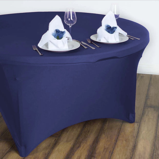 Navy Round Lycra Fitted Tablecloth (6ft) In Setting