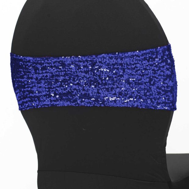 Sequin Lycra Chair Bands - Royal Blue