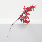 small red artificial cherry blossom branch with wire stem