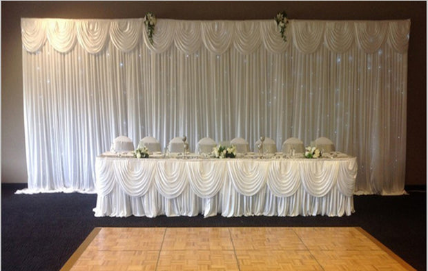 White Ice Silk Satin Backdrops - 3 meters length x 3 meters high With Matching Table Skirting