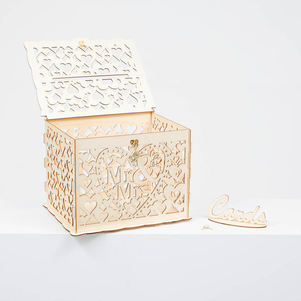 Wishing Well Wedding Card Box - Mr & Mrs Hearts