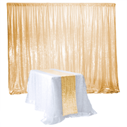 Antique Gold Sequin Backdrop Curtain 3m x 1.25m With Matching Runner