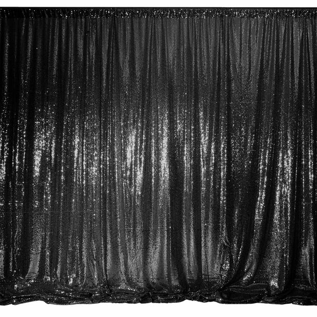 Black Sequin Backdrop Curtain 3m x 1.25m 3x Panels