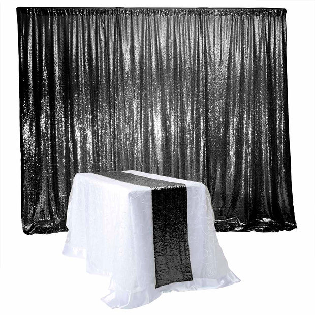 Black Sequin Backdrop Curtain 3m x 1.25m With Matching Black Sequin Runner