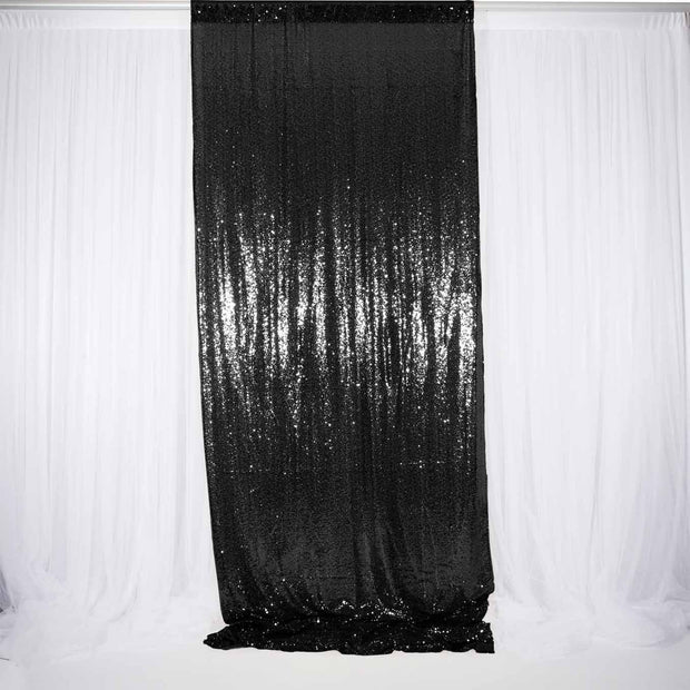 Black Sequin Backdrop Curtain 3m x 1.25m Single