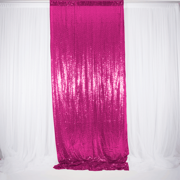 Hot Pink Sequin Backdrop Curtain 3m x 1.25m Single Panel