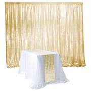 Champagne Gold Sequin Backdrop Curtain 3m x 1.25m With Runner