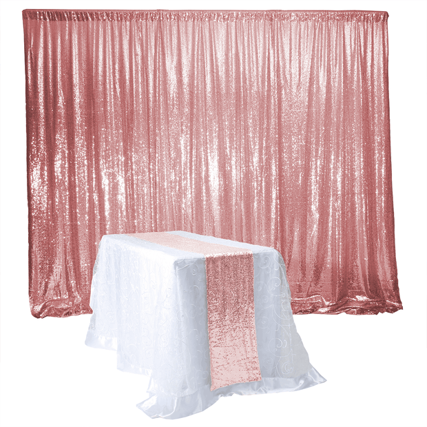Rose Gold Sequin Backdrop Curtain 3m x 1.25m With Runner