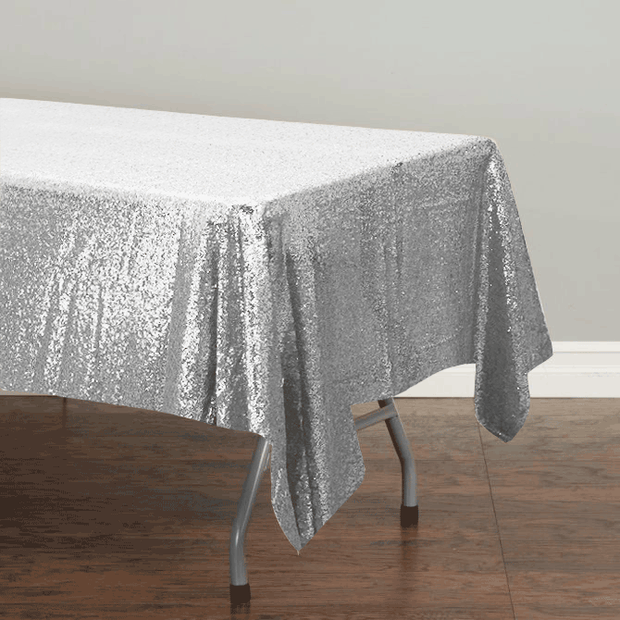 Silver Sequin Tablecloth 125x240cm
