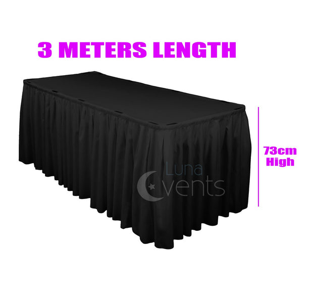 Black Table Skirting (3m) + BONUS Clips Dimensions