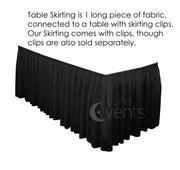 Black Table Skirting (4m) + BONUS Clips Design