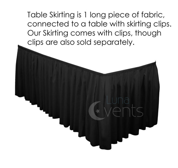 Black Table Skirting (6.3m) + BONUS Clips Design