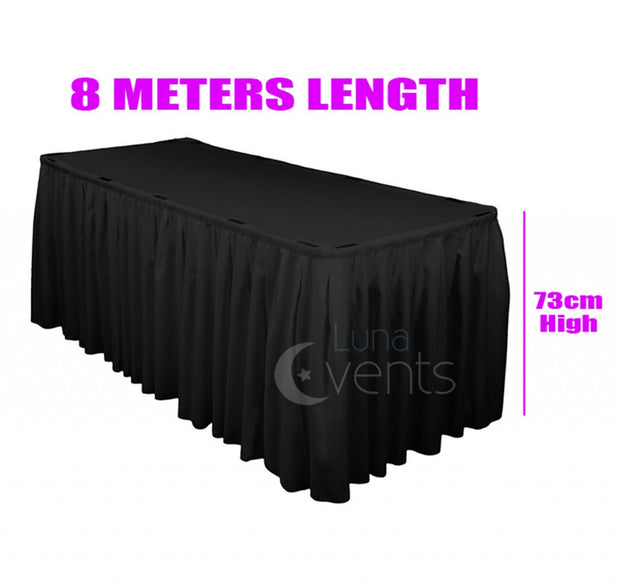 Black Table Skirting (8m) + BONUS Clips Dimensions
