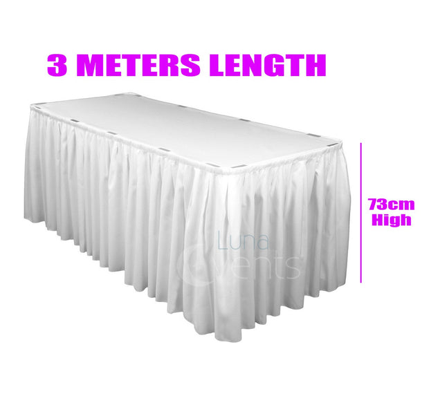 White Table Skirting (3m) + BONUS Skirting Clips Dimensions