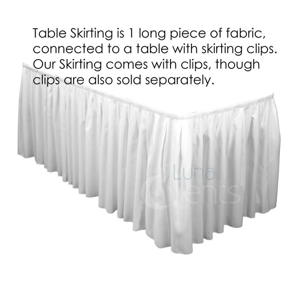 White Table Skirting (6.3m) + BONUS Skirting Clips Requires Purchase Of Tablecloth For Top