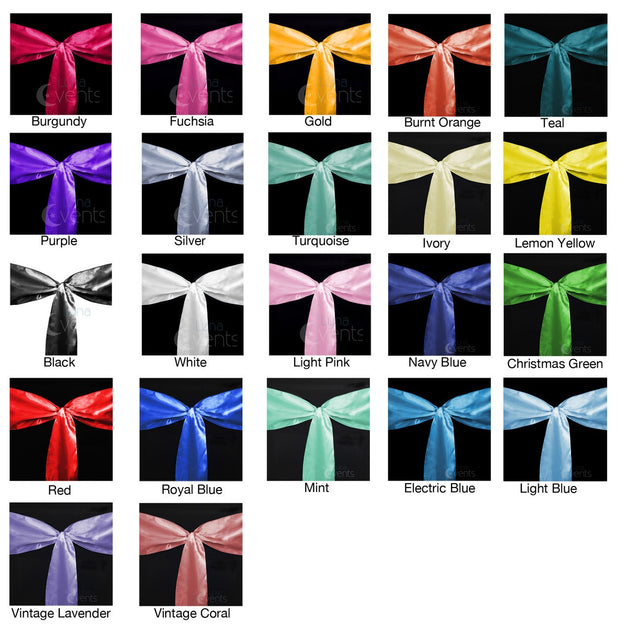 Satin Chair Sashes - Rainbow Party Pack