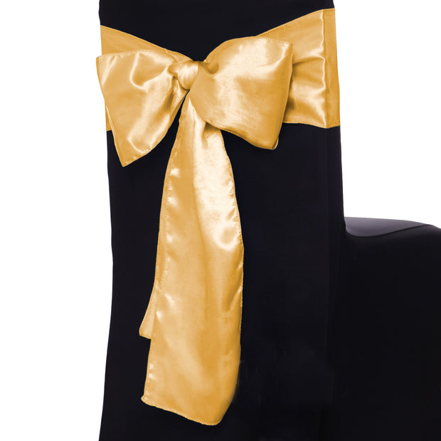 Satin Chair Sashes - Gold