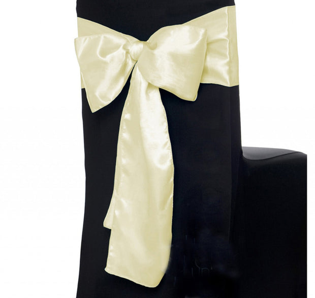 Satin Chair Sashes - Ivory