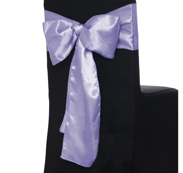 Satin Chair Sashes - Lavender