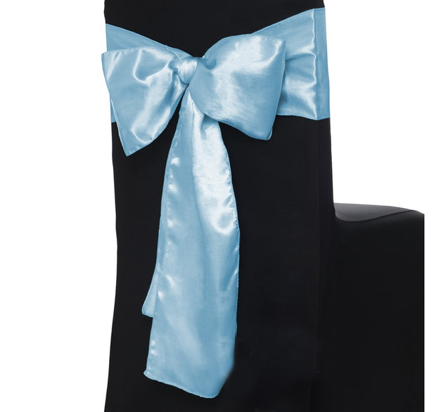 Satin Chair Sashes - Light Blue