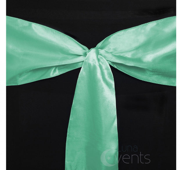 Satin Chair Sashes Detail - Mint