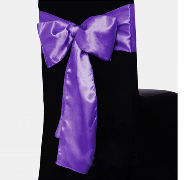 Satin Chair Sashes - Purple
