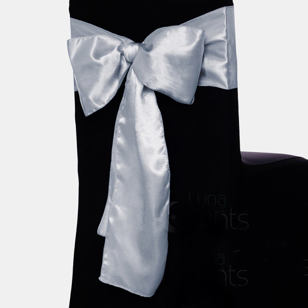 Satin Chair Sashes - Silver