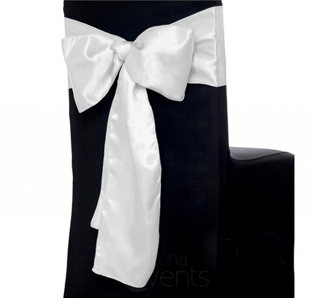 Satin Chair Sashes - White