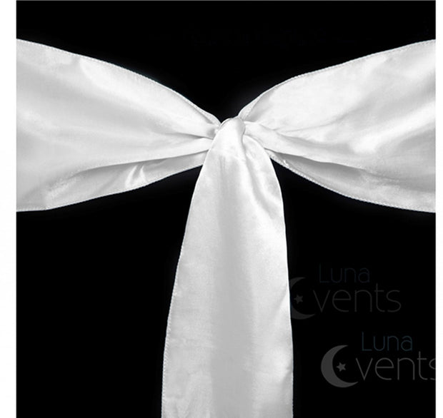 Satin Chair Sashes Detail - White