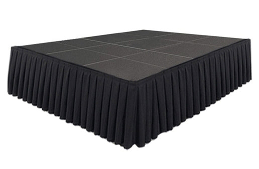 Black Stage Skirting (50cm x 3m) + BONUS Skirting Clips Stage View 1