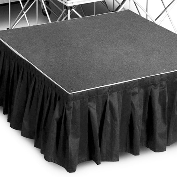 Black Stage Skirting (50cm x 3m) + BONUS Skirting Clips Stage View 2