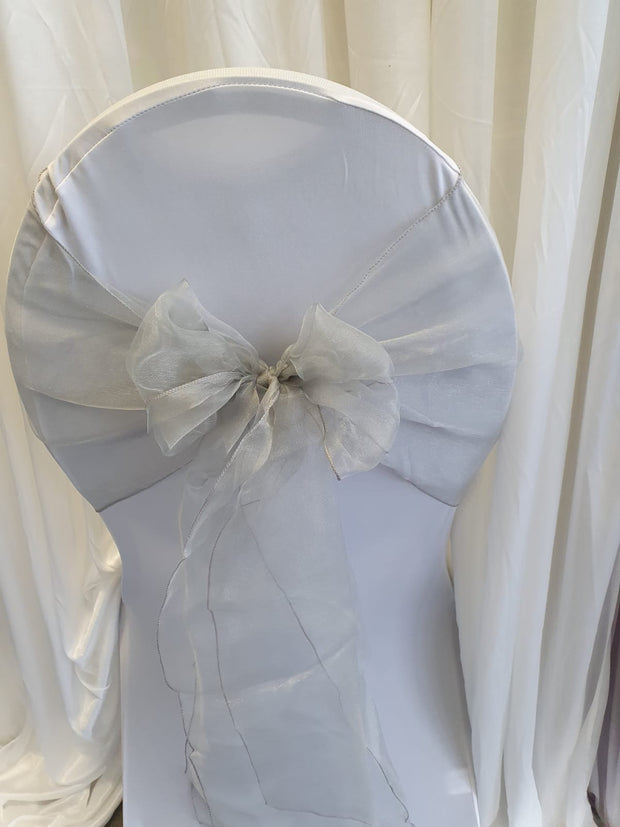 Organza Table Runners / Extra Wide Sash - Silver