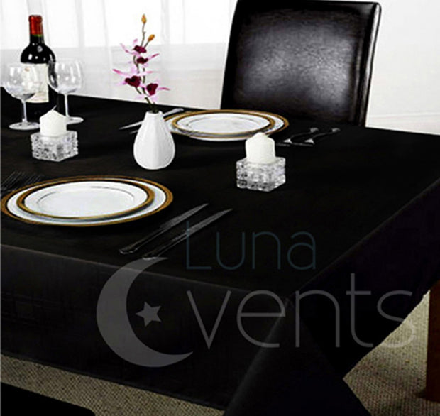Black Rectangle Tablecloths (153x320cm) In Setting Dining