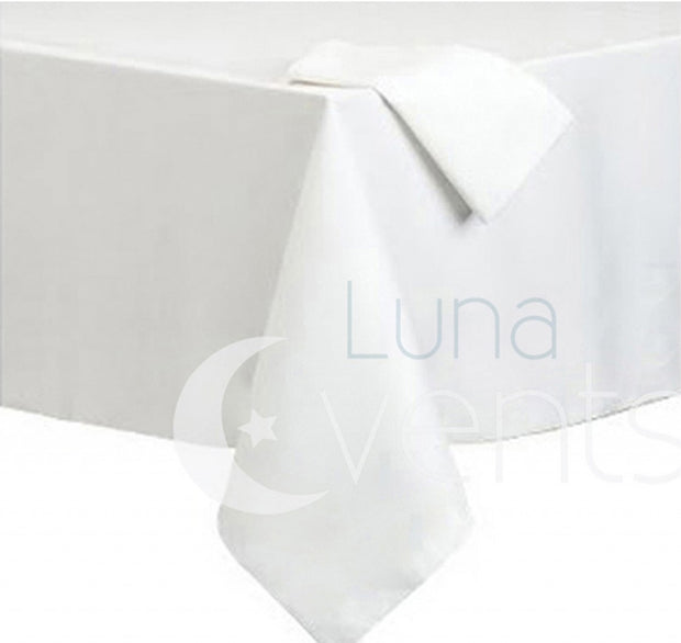 White Rectangle Tablecloth (153x259cm) close up