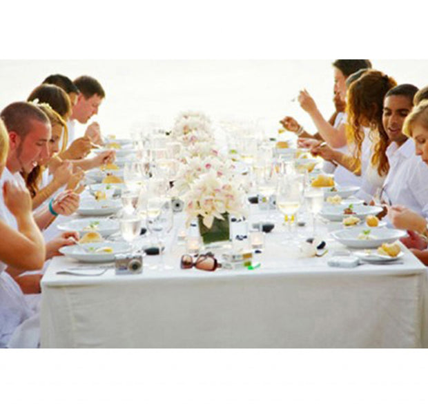 White Rectangle Tablecloth (220cm x 330cm) close up