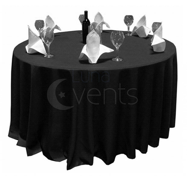 Black Round Tablecloth (220cm) In Setting