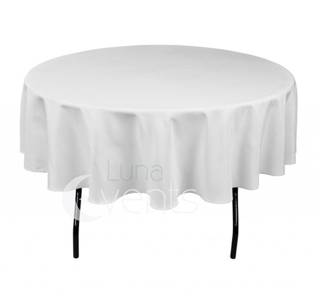 White Round Tablecloth (220cm) close up