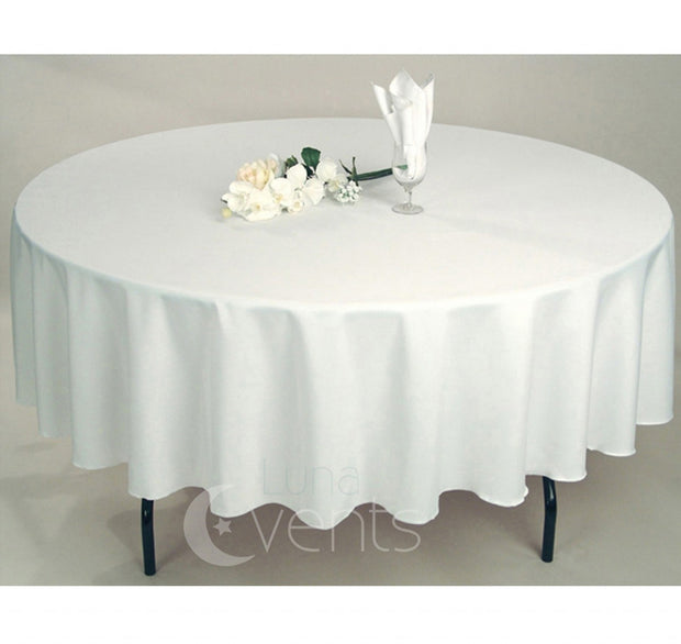 White Round Tablecloth (320cm) close up