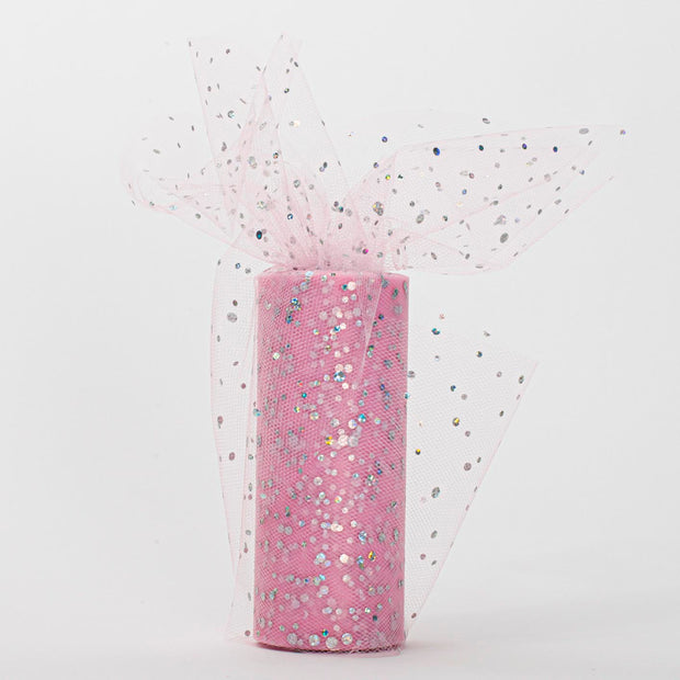 Sequin Tulle Fabric Roll - Light Pink (22m Length)
