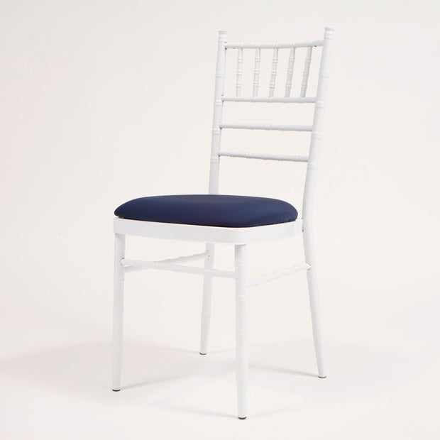 Navy Cushion Cover on White Chiavari Chair