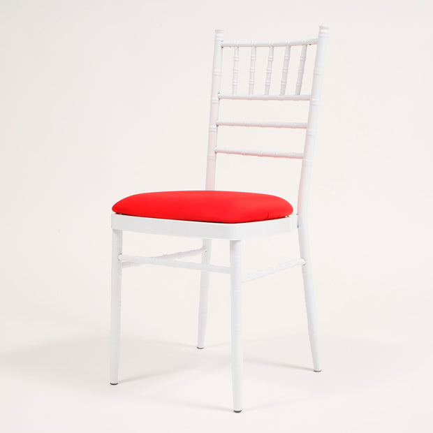 Red Cover on White Chiavari Chair